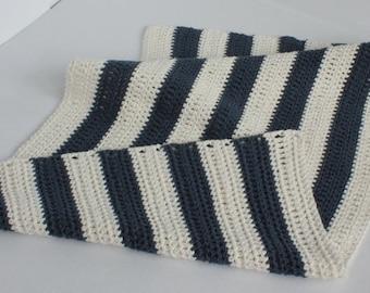 Nautical crocheted bathmat/rug (off white/indigo cotton)