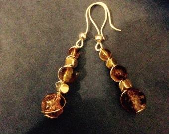 Amber glass bead dangle earrings