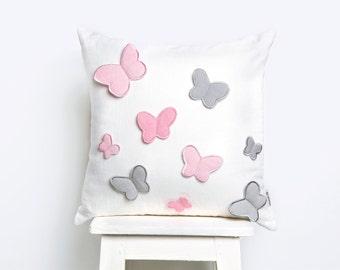 Dancing Butterflies Cushion, Baby Cushion Cover, Nursery Pillow Cover, Cushion Covers, Baby Cushion, Butterfly Cushion