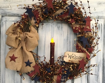 """18"""" Primitive Country Americana Grapevine Wreath w/candle and tag"""