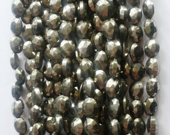 """Natural Pyrite Silver Faceted Oval Beads 13.5"""" strands."""