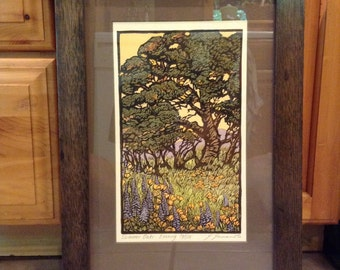 Framed Woodblock Print-Trees (Signed and Numbered)