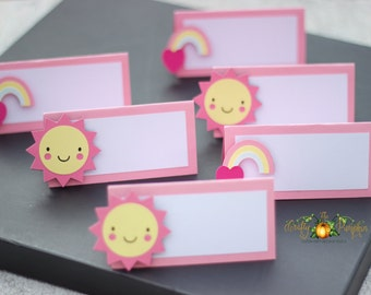 My Little Sunshine Place cards, My little sunshine food cards, sunshine theme