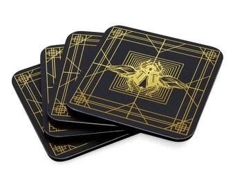 DECO SCARAB COASTERS: Black/ Gold (set of 4)