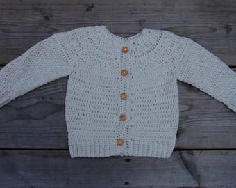 Cotton Blend Baby Cardigan - Stone