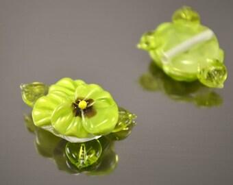 Pansy lampwork beads, 1pc Handmade Glass Pansy beads, floral lampwork, lampwork flower beads, SRA beads, Lampwork Pansy Beads, pansy bead