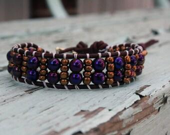 Beaded Leather Single Wrap Bracelet with Metallic Glass Beads
