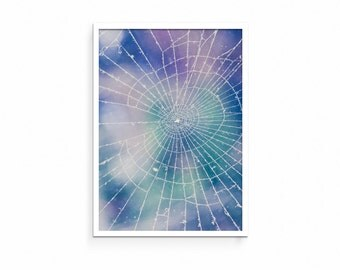 Abstract, Spiderweb, Contemporary, Watercolor, Modern Wall Art, Winter, Poster, Art Print, Printable, Instant Download, Blue, Purple, Nature