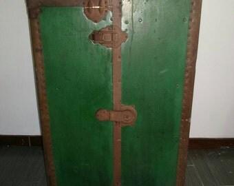 Antique Steamer Trunk 1800s Green