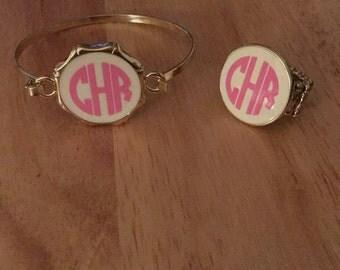 Cream and Gold Monogram Ring, Monogram Ring, Monogram Jewelry, Initial Ring, Initial Jewelry, Gold Ring, White and Gold