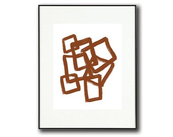 Brown and White Abstract| Print #6 | Modern Abstract Art | Minimalist Folk Art