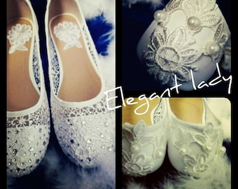 White bridal shoe