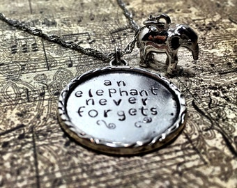 """An elephant never forgets - 16"""" pewter hand-stamped pendant necklace with elephant charm. Can be personalized - message for details!"""