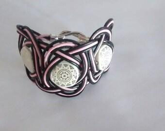 Leather Bracelet knots Celtic stone symbol