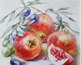 SALE-Pomegranate watercolor art by InterArtShop   original watercolor still life free shipping in UK