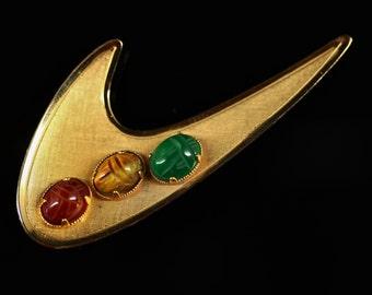 1960s Mod 12K Gold Scarab Boomerang Brooch Pin - Original Box - Fine Estate Jewelry, Mad Men Mid Century Modern, Rolyn Modernist Jewellery