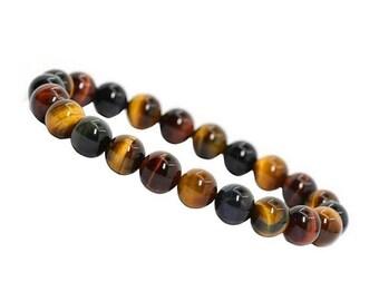 Mens Bracelet Tiger Eye, 10mm Tiger Eye Bracelet, Men's Jewelry,Tiger Eye Jewelry,Men's Multi Color Tigers Eye Beaded Bracelet,Mens Bracelet