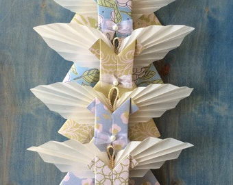 Angel Ornaments Green Blue Ornament Set of 5, Modern Decor Paper Dress Angels Girls Room Baby Room Ethereal Heavenly Spiritual Decorations
