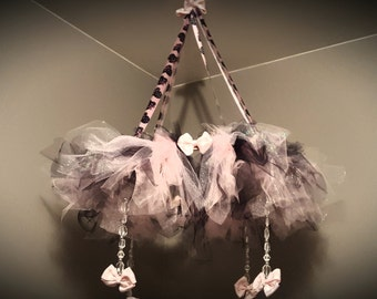 Girls Mobile, chandelier, tutu, girls, nursery, customized, baby mobile, made to order,