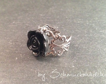 Ring silver rose black