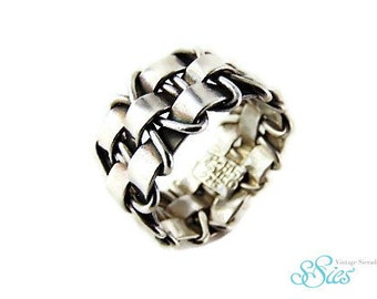 Sale! Wide TAXCO silver braid ring M 17/17.5