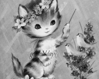 Grayscale adult coloring cats cat kittens flowers digital download image print