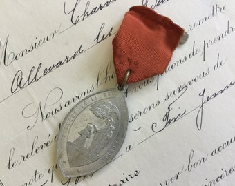 FRENCH RELIGOUS MEDAL and taffeta ribbon pin, French brooch,  jewelry supplies, French jewelry, rare medals, religous jewelry, holy medal
