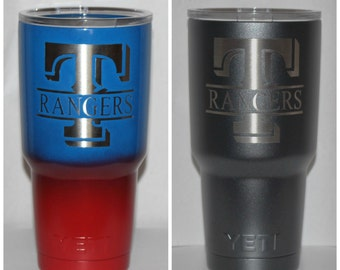 Texas Rangers Baseball - NEW Authentic YETI or Ozark Rambler Custom Powder Coat Dipped
