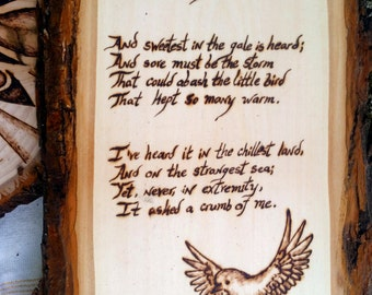 Hope is the Thing with Feathers - Woodburned Poem