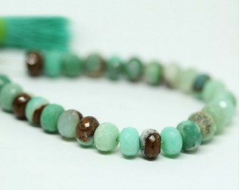 Bi Chrysoprase Faceted Rondelle Loose Beads Strand - 4 inches - 9 MM 10 MM - Jewelry Making