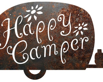 "Rustic Home Decor ""Happy Camper"" Metal Sign"