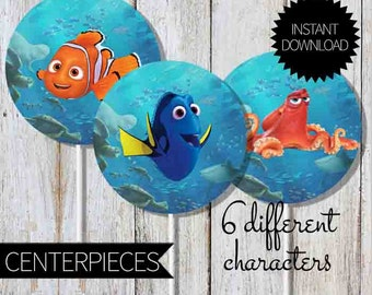 Finding Dory Birthday Party PRINTABLE Centerpieces- Instant Download | Finding Nemo| Cake Topper