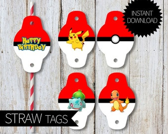 Pokemon GO Birthday Party PRINTABLE Straw Tags- Instant Download | Pokemon Go Pokémon| Straws Decorators