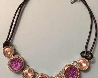 Trendy New Interchangeable Snap Necklace with Four Large Rhinestones and Three Purple Snaps for Women