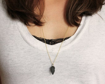 Black Arrowhead Necklace, Modern Boho Arrowhead Pendant