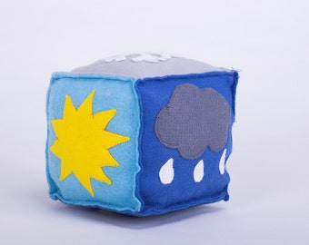 Sensory weather dice Montessori inspired