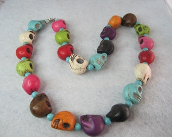 Sale Smiling Skull Necklace Colorful Unique Carved Turquoise Howlite 22 Inch Length Stainless Steel Lobster Claw Clasp