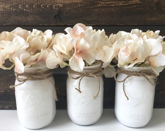 Cottage Chic Wedding, Wedding Centerpieces, Wedding Decor, Mason Jar Set, Set of 3
