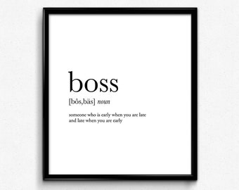 Boss definition, college dorm girl, dictionary art, minimalist poster, funny definition print, dorm decor, wedding gift, office decor wall