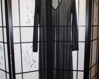 Vintage 1990s Black Sheer Maxi Long Duster - Free Shipping