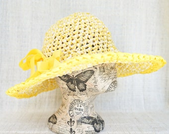 crochet panama hat | wide brimmed sun hat | floppy hat | knitted ribbon hat | beach hat | summer hat | vintage style hat | travel hat