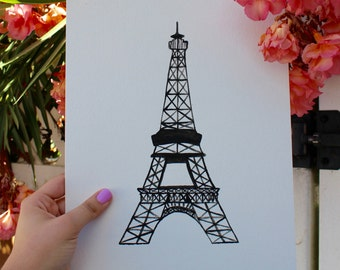 Simple Eiffel Tower Black & White 9x13 Painting