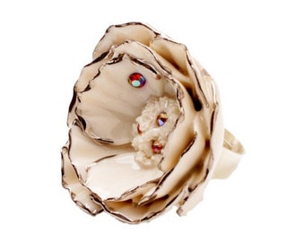 Porcelain Silver Peony Ring/ Peony/ Ring/ Porcelain Ring/ Silver Peony/ Flower Ring/ Fower