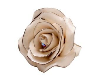 Porcelain Silver Rose Ring/ Rose/ Ring/ Porcelain Ring/ Silver Rose/ Flower Ring/ Fower