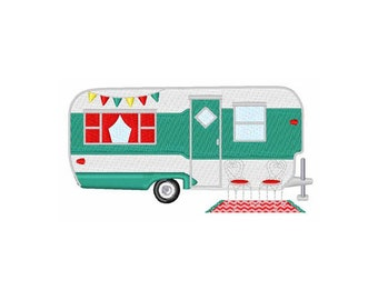 Camper travel trailer-machine embroidery design