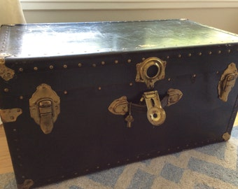 Vintage 'Vacationer' Navy Blue Trunk with Brass Hardware