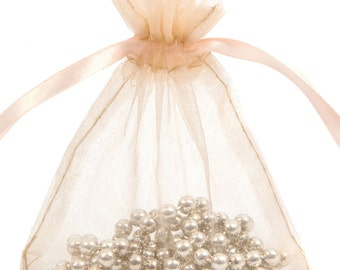 100 Peach Organza Gift Pouch Wedding Favour Bag Jewellery Pouch- 6 Sizes