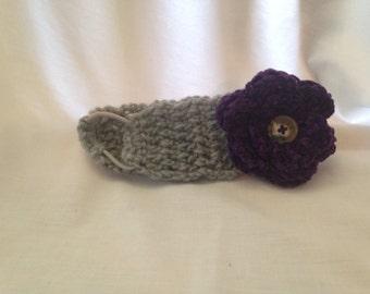 Crochet Wide Band Flower Headband