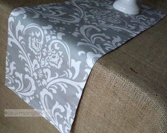 Gray Table Runner Grey Floral Dining Room Kitchen Decor Table Centerpiece Linens Party Decoration