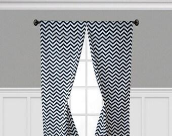 Black and White Curtain Panels Chevron Window Treatments Drapery Custom Drapes Stripe Zig Zag Living Room Decor Curtains
